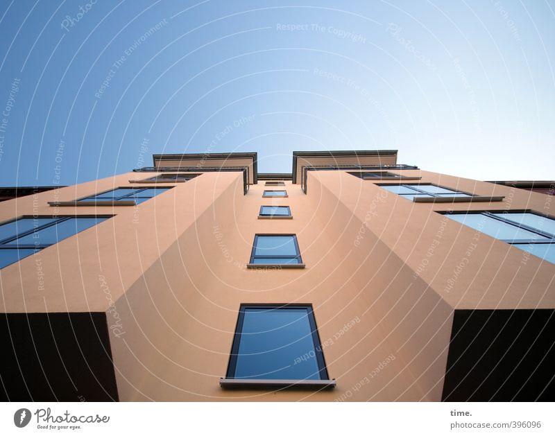 Geschmackssache Stadt Haus Fenster Wand Architektur Mauer Gebäude Fassade Kraft Hochhaus Design Ordnung hoch modern Schönes Wetter Perspektive