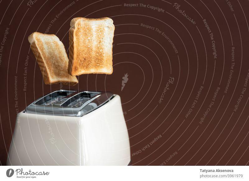 Toastscheiben springen aus dem Toaster Zuprosten Brot Frühstück Lebensmittel Scheibe Gerät elektrisch Vorrichtung geröstet Utensil Belegtes Brot braun