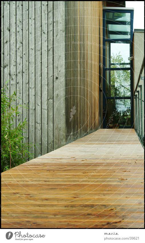 Eingang Haus Holz Architektur Glas Perspektive Eingang