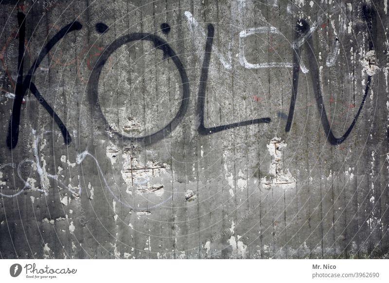 Köln Stadt grau Schriftzeichen Fassade Wand Buchstaben Mauer NRW Großstadt Kölsch Grafik u. Illustration Graffiti Typographie Schilder & Markierungen Cologne