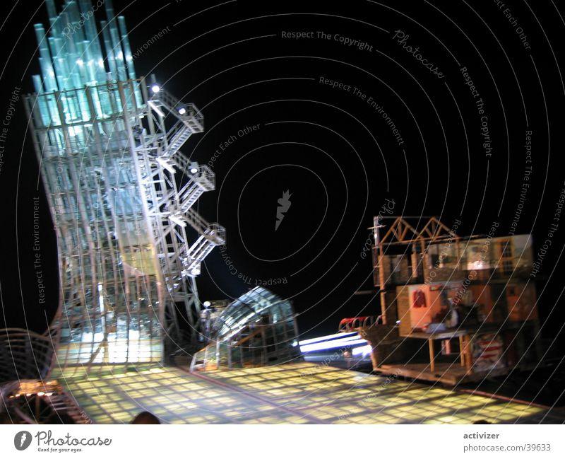 Tower by night Bühne Gebäude Beleuchtung Architektur Turm Archidektur Glas Farbe