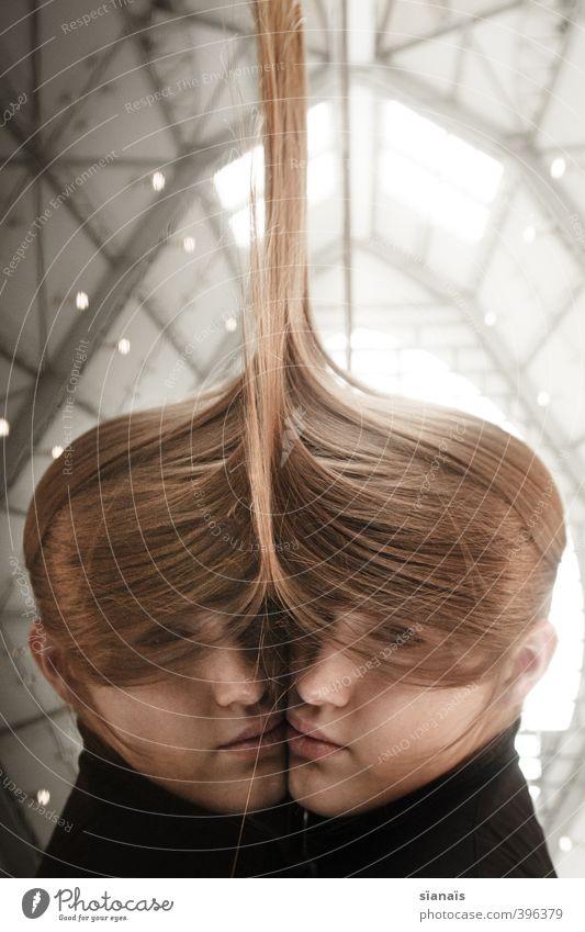 geschwisterliebe Mensch feminin Junge Frau Jugendliche Erwachsene 1 Haare & Frisuren blond langhaarig träumen Traurigkeit Zusammensein selbstbewußt ruhig