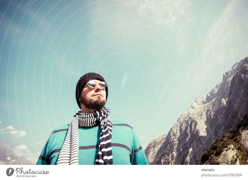 Walter macht Blau Mensch Himmel Mann Ferien & Urlaub & Reisen Ferne Erwachsene Berge u. Gebirge Freiheit Stil Felsen Luft maskulin Lifestyle Tourismus modern