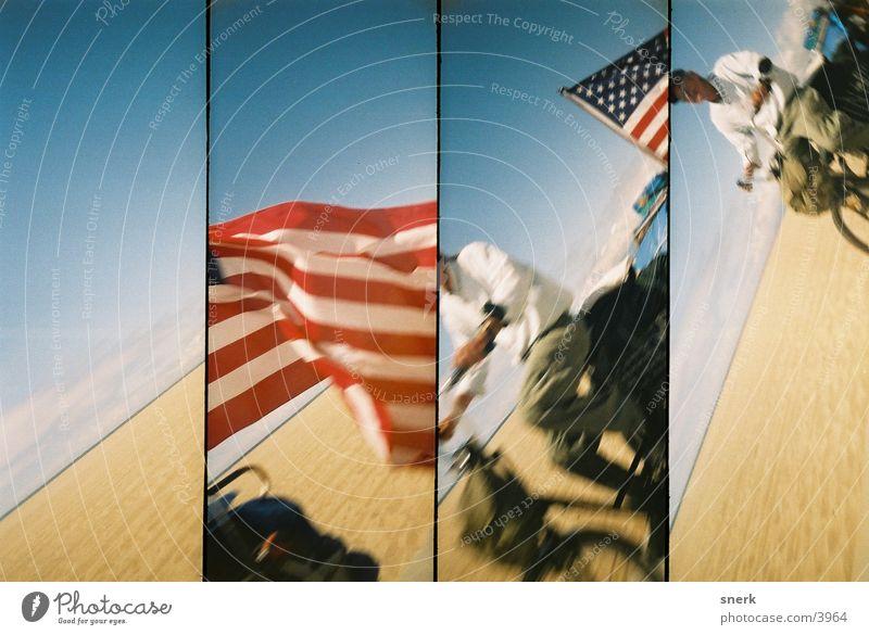 american dream Obdachlose Fahrrad Nordamerika amerikanische Flagge