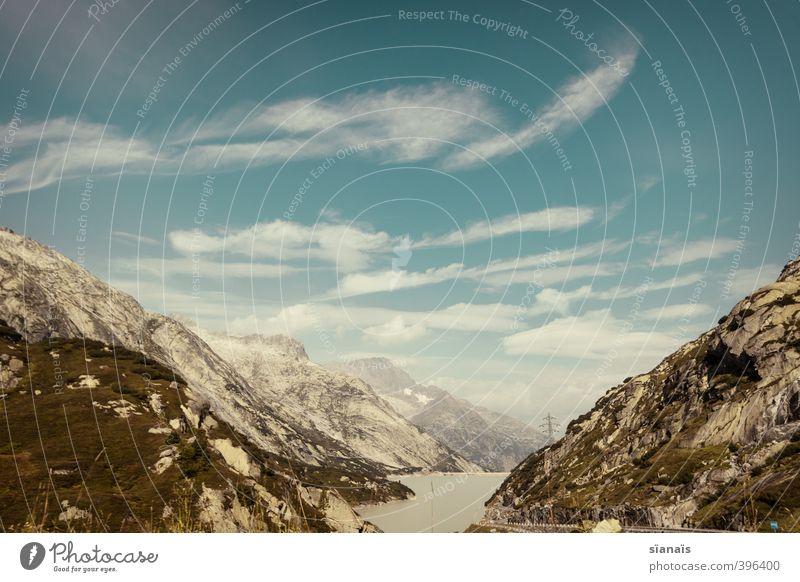 Grimselsee Natur Ferien & Urlaub & Reisen Wasser Landschaft Wolken Ferne Umwelt Berge u. Gebirge See Felsen Luft Tourismus hoch Schönes Wetter Ausflug Urelemente