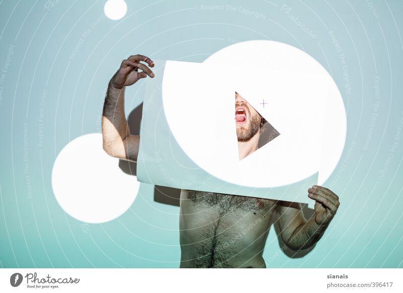 lecke ecke Design Mensch maskulin Mann Erwachsene Maske Papier wild türkis Dreieck Grafik u. Illustration Grafiker Geometrie mint Collage Projektion Durchblick