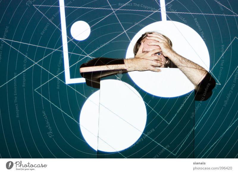 Polygonismus Mensch Mann Erwachsene Kunst Linie maskulin Design Angst Kreis Grafik u. Illustration Punkt Zukunftsangst Gemälde entdecken Maske verstecken