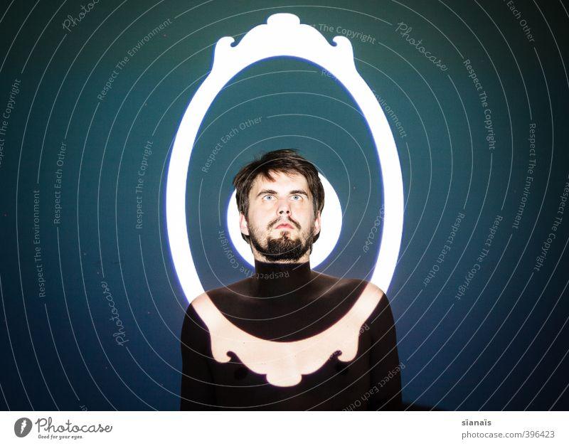 Black Mirror Mensch Jugendliche schön 18-30 Jahre Gesicht Erwachsene Stil Kopf maskulin Angst Gemälde Bart Spiegel Museum Kosmetik Sorge