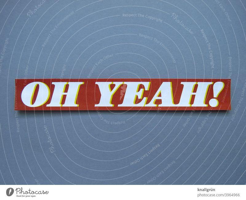 Oh yeah! Begeisterung Lebensfreude Glück Jubelstimmung Freude Fröhlichkeit Gefühle Euphorie Optimismus Stimmung Erfolg Zufriedenheit Buchstaben Wort Satz Letter