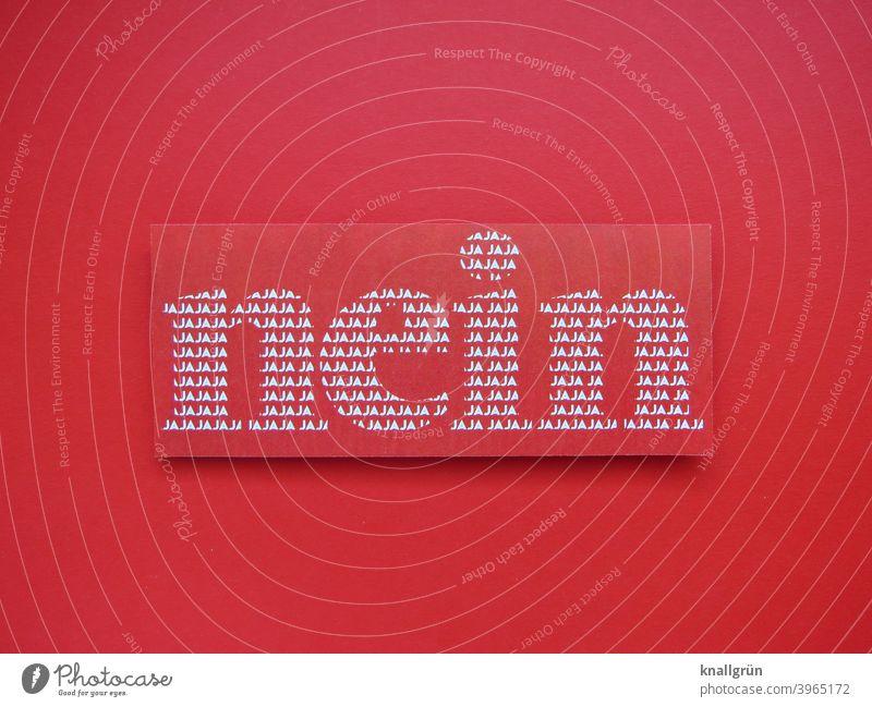 Nein ambivalent nein Widerspruch Ablehnung Kommunizieren Schilder & Markierungen Ja Schriftzeichen Schriftbild Gefühle Text Textfreiraum Farbfoto rot weiß
