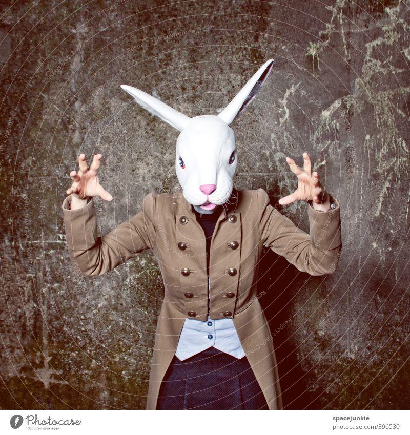 The dark rabbit Mensch Junge Frau Jugendliche 1 18-30 Jahre Erwachsene Kunst Stein Beton außergewöhnlich bedrohlich Coolness gruselig braun gelb weiß Wut Maske