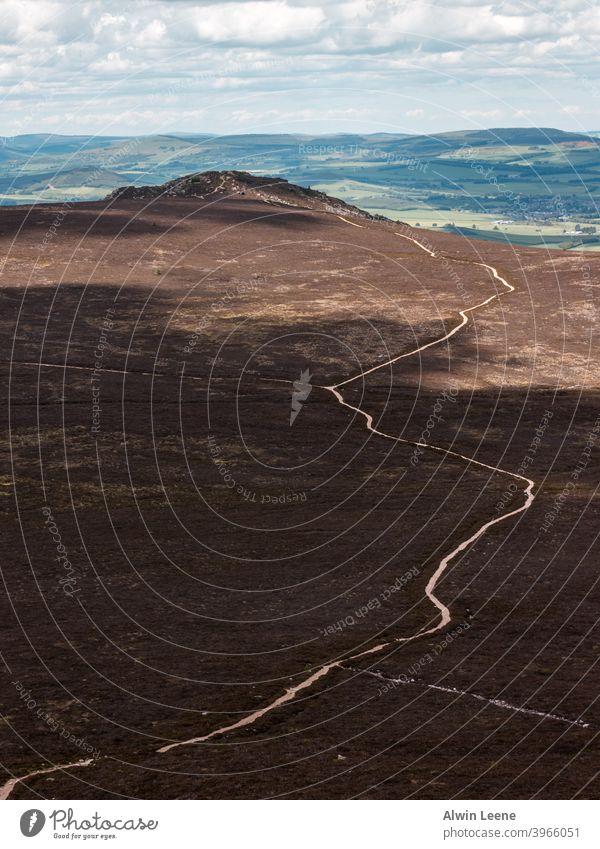 Pfad an der Seite von Bennachie Nachlauf Schottland Großbritannien vereinigtes königreich Aberdeenshire Natur Landschaft natürlich Berge u. Gebirge Hügel