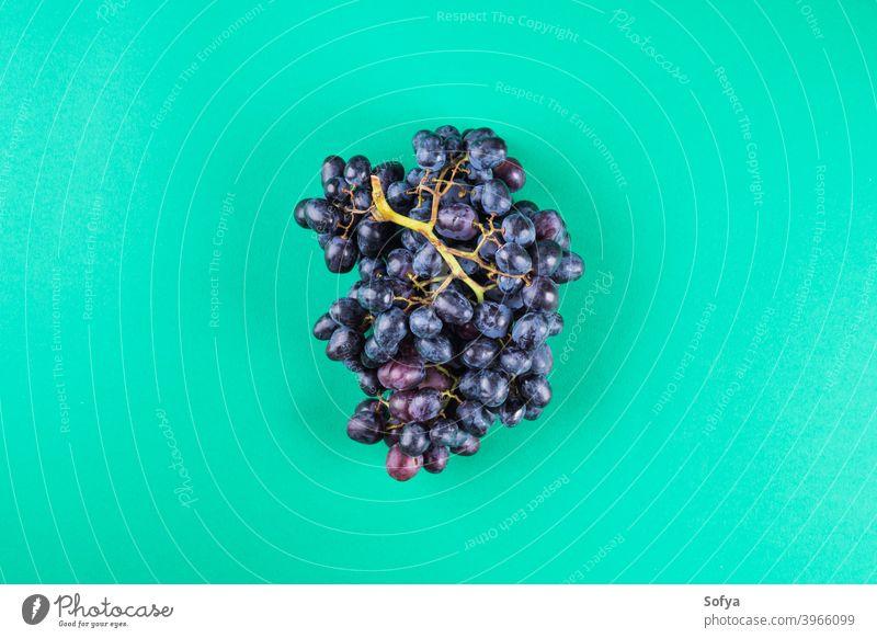Dunkle Trauben auf grünem Hintergrund Lebensmittel produzieren Masse nachhaltig keine Verschwendung trendy kaufen Farbe Laden umweltfreundlich Erdtag Ökologie