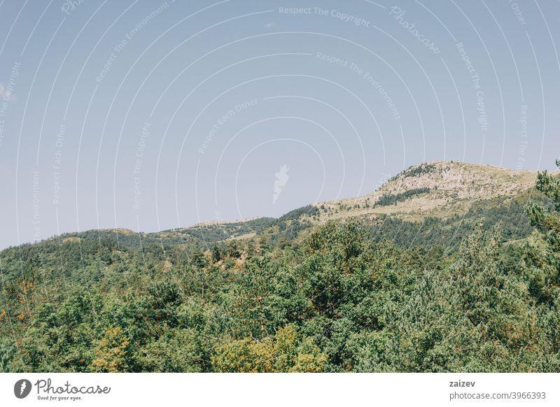 Landschaft in den Bergen, in Spanien. Ein sonniger Sommertag Katalonien ohne Menschen im Freien mittelgroß Textfreiraum Farbe horizontal Top Gesäß