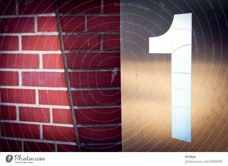 An der Mauer 1 Wand Hausnummer Backsteinwand Ziffern & Zahlen ästhetisch glänzend modern rot weiß Qualität Stadt Edelstahl Licht & Schatten groß graphisch