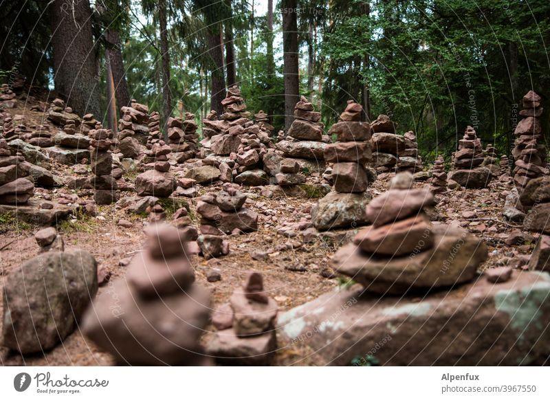 Zeitgeschichte | Steinzeit Steine Wald Waldlichtung Steinmännchen Außenaufnahme Natur Farbfoto Menschenleer Felsen Umwelt wandern Ferien & Urlaub & Reisen