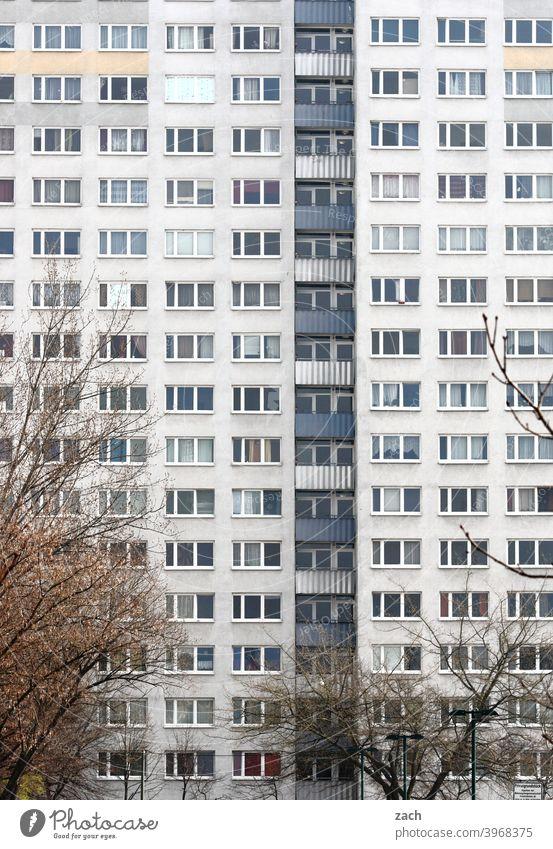 Nachbarschaft Stadt Haus grau Balkon Fassade Plattenbau Hochhaus Bauwerk Architektur Beton überbevölkert Marzahn Marzahn-Hellersdorf Gebäude Hauptstadt Berlin