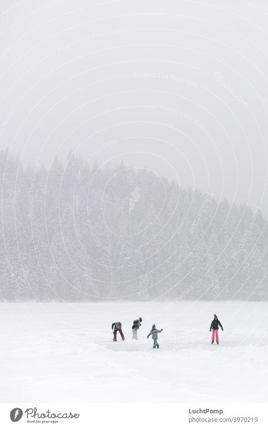 Vier Kinder laufen Schlittschuh auf zugefrorenem See Schnee verschneit Fichtenwald Wald Tannenwald verschneite Bäume eingeschneit Wanderung stille friedlich
