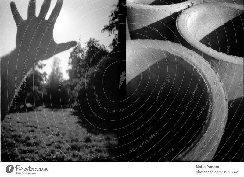 Stadtbildduett 9 analog Analogfoto schwarzweiß Diana Mini Halbformat LoFi Hand Wiese Bäume Sonne verdecken abschatten rund Beton Betonteile Außenaufnahme wehren