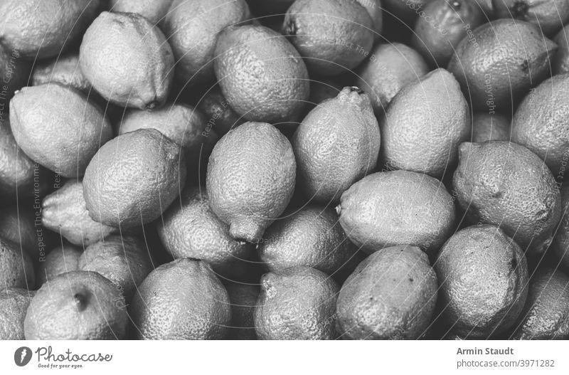 Jahrgang schwarz und weiß Schuss von einem Haufen Zitronen Monochrom Frucht Gesundheit frisch Zitrusfrüchte Lebensmittel gelb Frische roh reif Vitamin