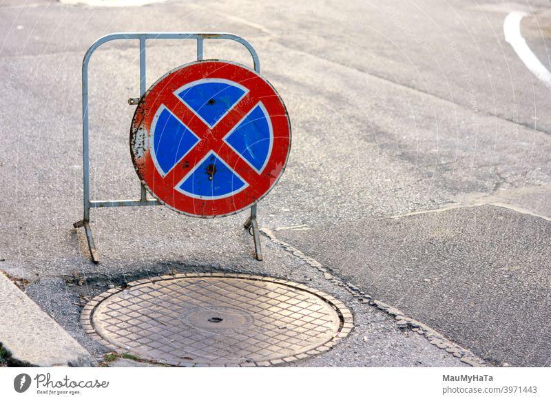 Verkehrsschild Asphalt Straße Großstadt Sofia Kanalisation Deckung Verbot