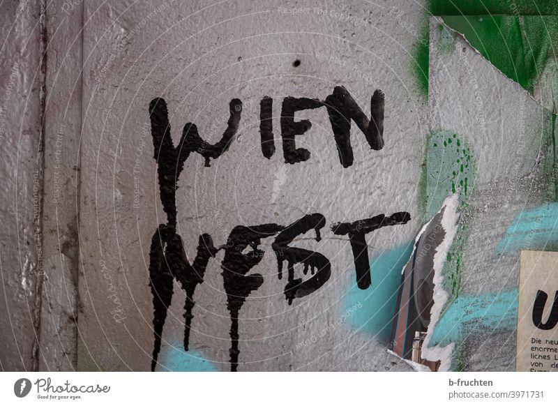 """Graffiti auf Mauer, """"Wien West"""" Schriftzug Wand Fassade Schriftzeichen Zeichen grau Buchstaben Straßenkunst Jugendkultur Wandmalereien Wort Schmiererei trashig"""