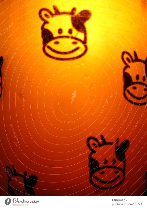 Kuh-Becher in orange weiß dunkel schwarz Beleuchtung hell Häusliches Leben Glas Lächeln Comic scheckig durchscheinend Aufdruck