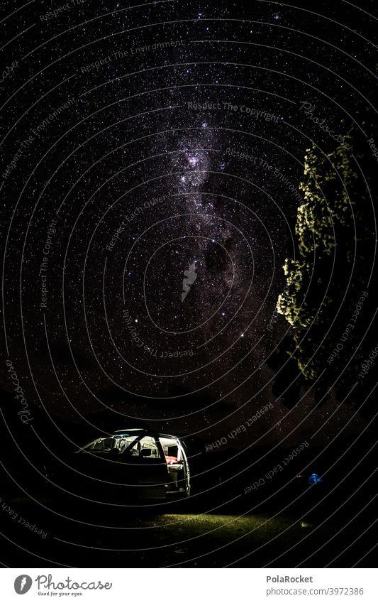 #AS# Zeit fürs Bett? Nein die Sterne rufen Milchstrasse campervan Camper Outdoor Sternenhimmel Nacht Nachthimmel sternenklar Weltall Langzeitbelichtung reisen