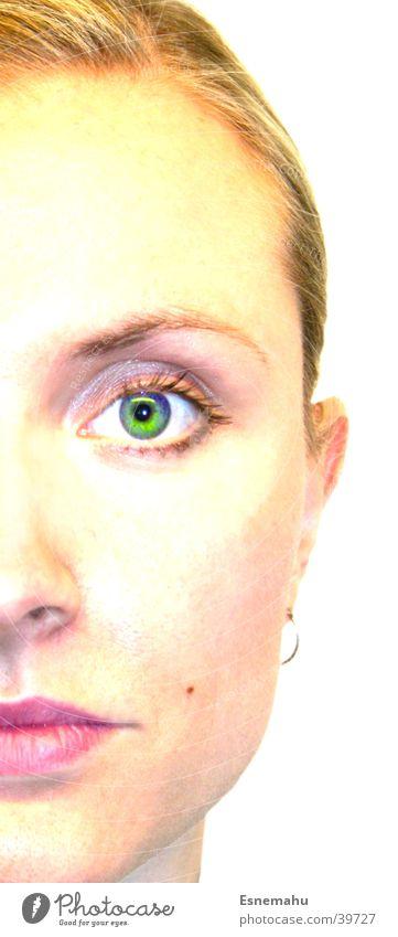 Jana auf halb Frau weiß Lippen Porträt ernst gelb grün rot Gesicht Auge Ohr Nase Mund hell Mensch Blick Portait Haare & Frisuren