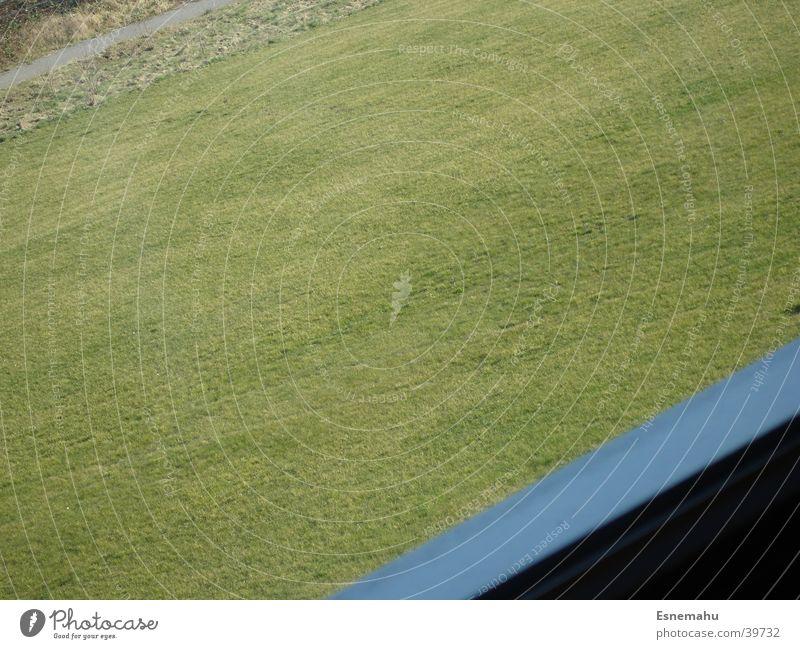 Farbenfroh blau grün Fenster Gras Wege & Pfade Stein Streifen Rasen diagonal Rahmen Neigung Fensterrahmen