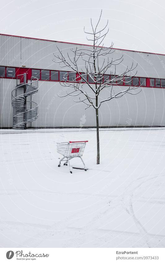 Rot-Weiß Schnee Eis weiß rot Einkaufswagen Einkaufszentrum Spuren kalt Baum Menschenleer Frost Winter Fassade Treppe Wendeltreppe Fenster Gebäude Konsum