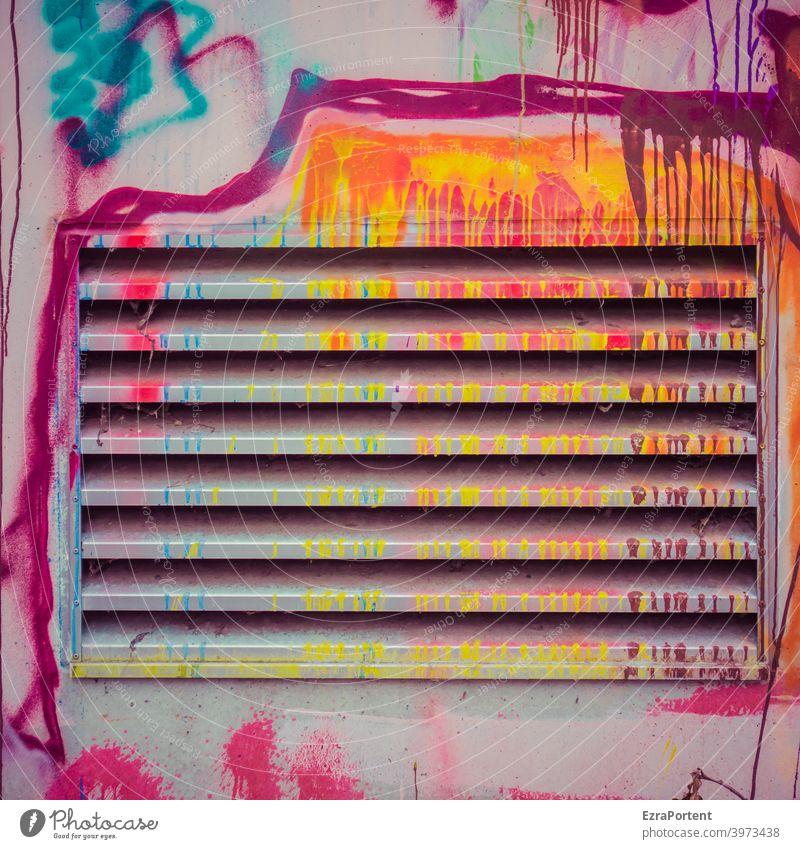 läuft Graffiti bunt Lüftung Lüftungsschlitz Linie Linien Schmiererei Fassade Mauer Farbe Hintergrund Wand Strukturen & Formen abstrakt Design Kunst Muster