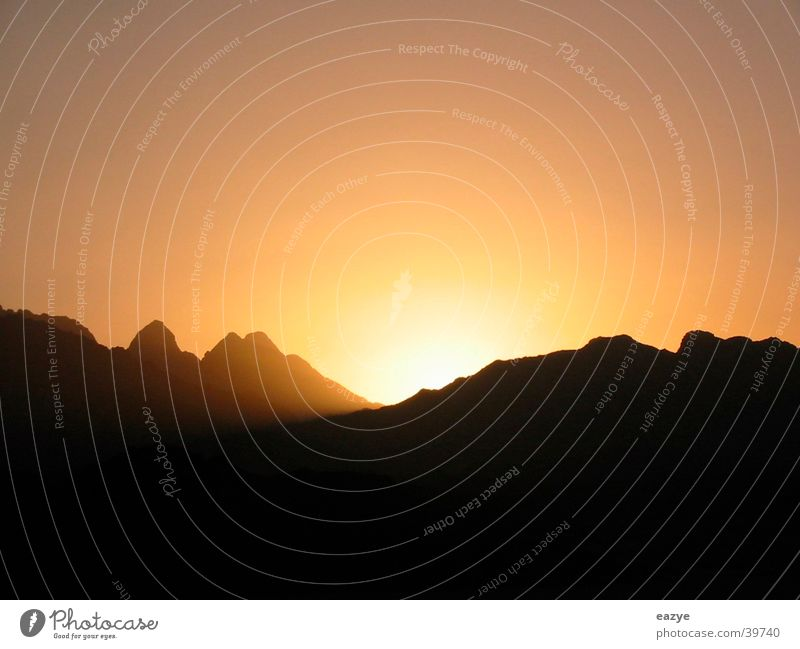 Sonnenuntergang in Ägypten Ferien & Urlaub & Reisen ruhig Berge u. Gebirge Wüste Ägypten