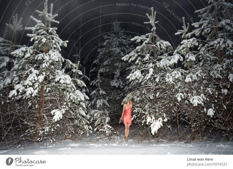 Es ist immer noch kalt draußen und diese Wälder sind mit weißem Schnee bedeckt. Dennoch, diese wunderschöne weibliche Modell kümmert sich nicht, wenn es ein Schneesturm da draußen ist. Nackte Füße und kaum gekleidet (nur mit rosa Rock) Mädchen genießt das Gefühl des Winters.