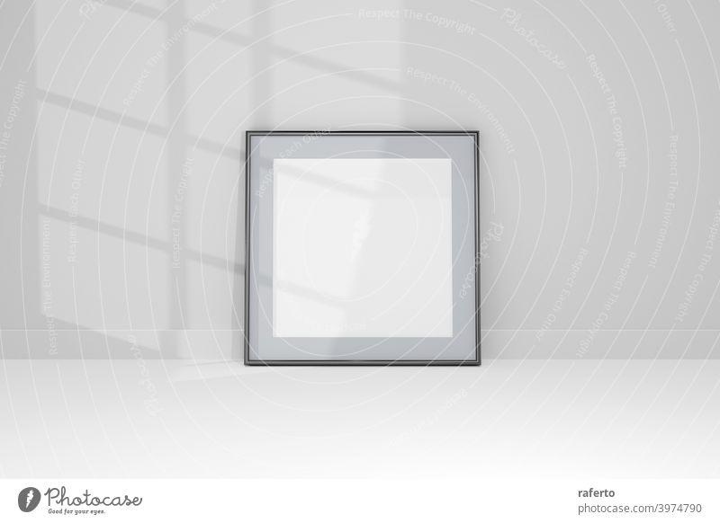 3d Mockup schwarzer Rahmen Foto an der Wand mit Schatten. Design druckt Poster, leer, Malerei Bild. blanko Business modern Papier realistisch Transparente