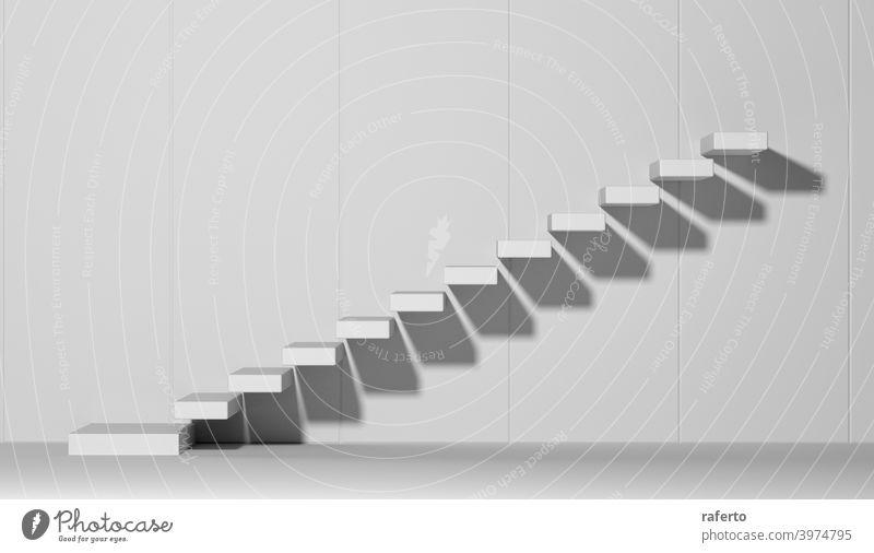 Aufsteigende Treppe abstrakt weiß 3d Illustration Treppenhaus Wand Hintergrund Erfolg Laufmasche Business leer Stock Grafik u. Illustration Konzept Konstruktion