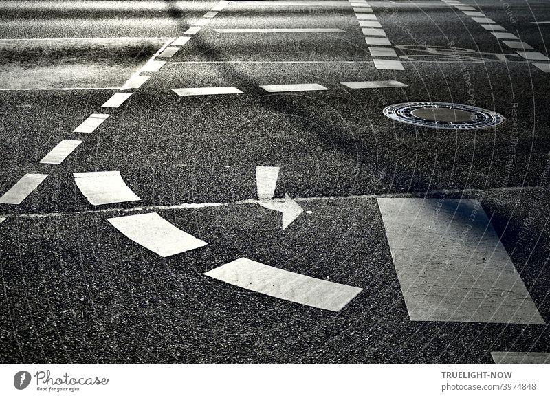 Besser gut aufpassen, nicht nachdenken über die scheinbar klare Fahrbahnmarkierung: Fahrradfahren kann schon sehr gefährlich sein Fahrradweg Kreuzung Markierung