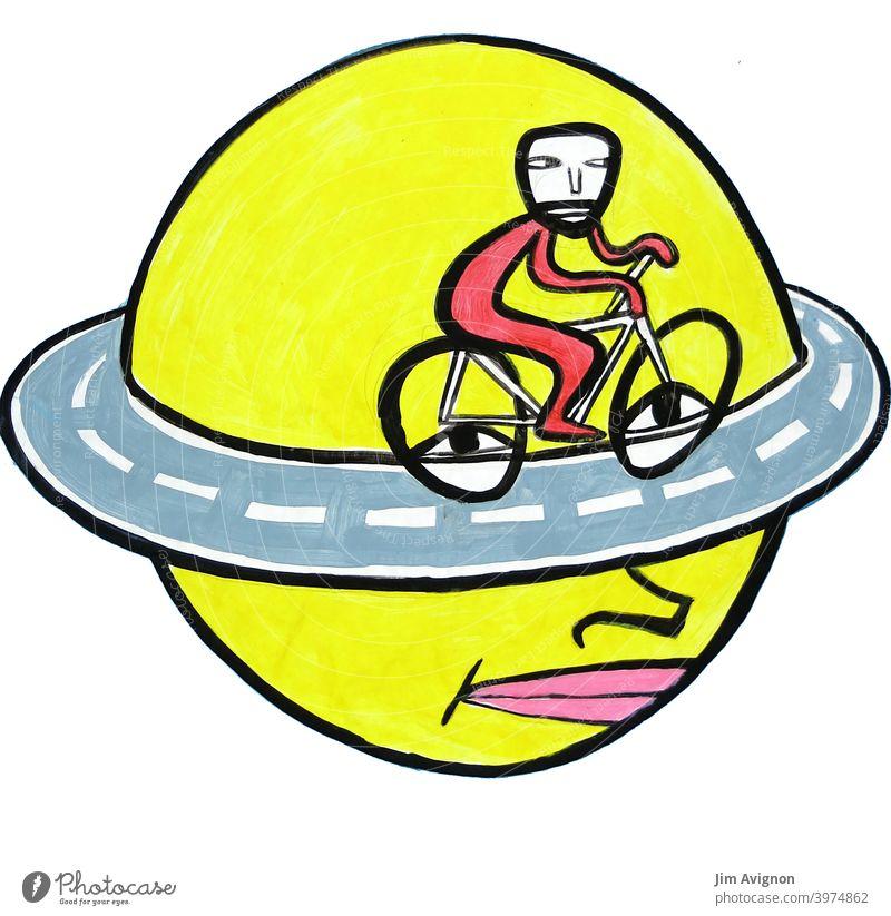 Endloser Gedanke Kopf Ringstrasse Fahrrad grübeln illustration
