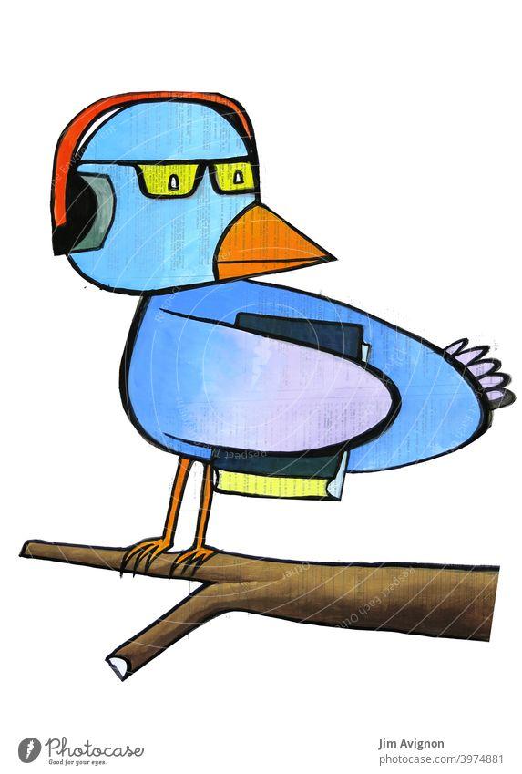 Der Nerd Bird Streber Vogel leistungsstark Brille Kopfhörer