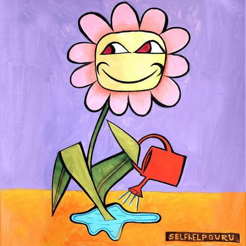 Selbsthilfe-Guru Autarkie Bewässerung Blume Gießkanne Autonomie