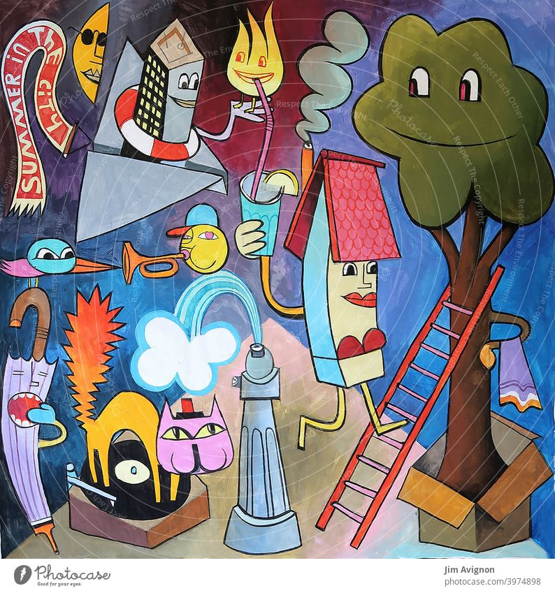 Sommer in der Stadt Freizeit verrückt Hydrant Plattenspieler Baum Hitze Illustration Kunst