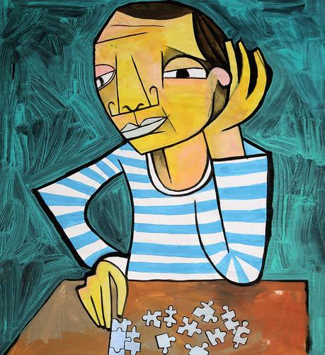 Der Puzzle-Spieler Spielen Mann Tisch Geduld Kombination Kunst illustration Picasso