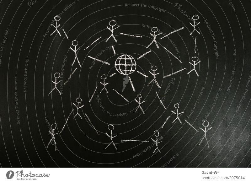 miteinander vernetzt - Vernetzung über das Internet verbunden social media Mobilität Menschen Miteinander austauschen informationen