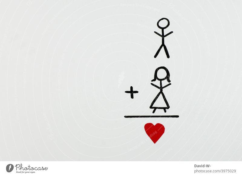 Liebe - Mann und Frau verliebt Strichmännchen Herz Valentinstag Liebespaar zusammen Gefühle Verliebtheit Partnerschaft Paar