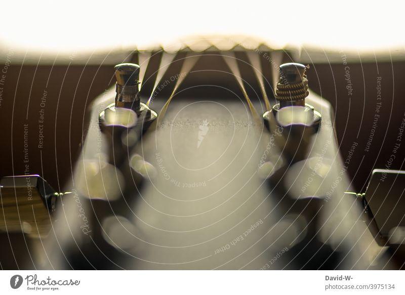 Detailaufnahme einer Gitarre Saiteninstrumente Gitarrensaiten Musik Klang Musikinstrument akustisch Kultur makrofotografie Ton Konzert