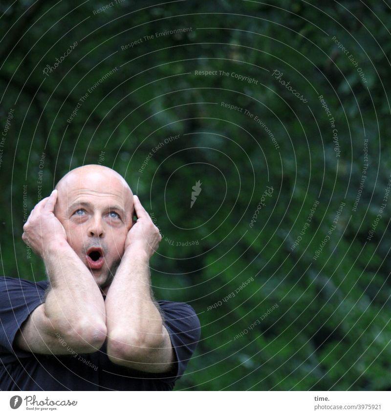 Die Überraschung mann erstaunen arme halten portrait park grün hecke überraschung überrascht glatze ausruf blick nach oben