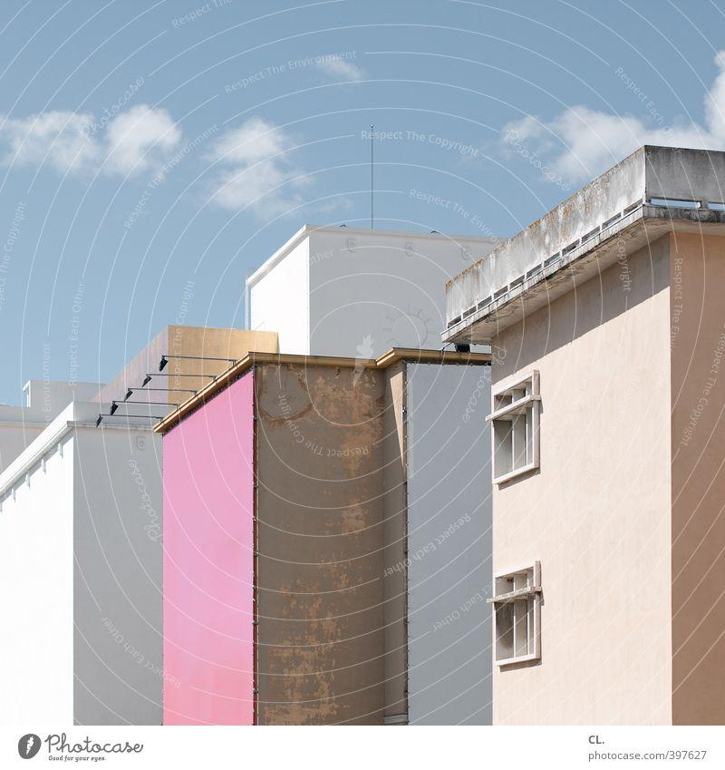 rosa wand Ferien & Urlaub & Reisen Tourismus Sommer Sommerurlaub Häusliches Leben Wohnung Himmel Wolken Frühling Schönes Wetter Stadt Haus Bauwerk Gebäude