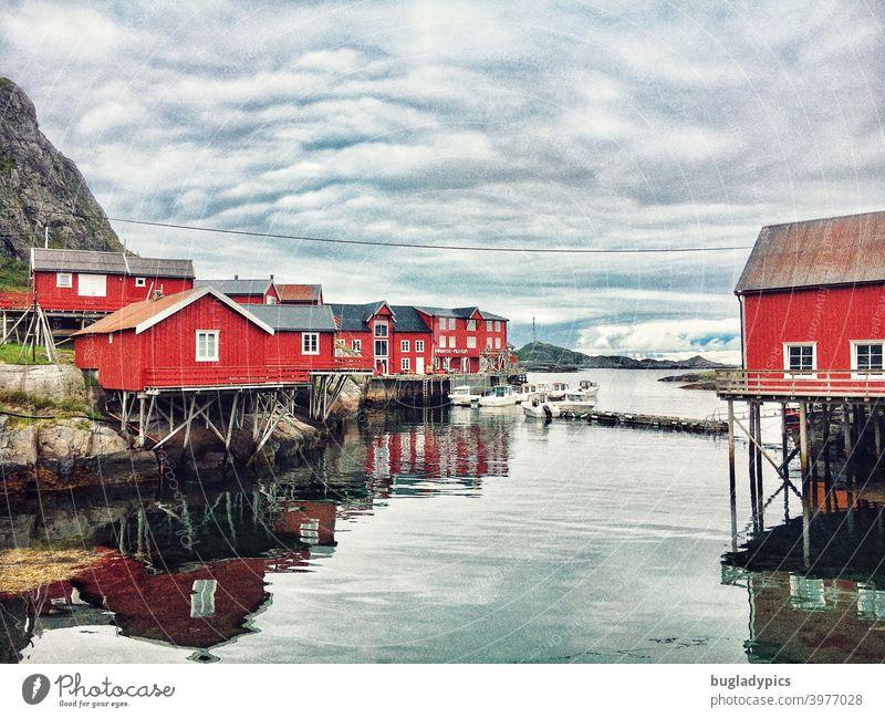 Rorbuer / Rote Häuser auf den Lofoten in Norwegen Stelzenhaus Fischerdorf Fischereiwirtschaft Fischerhütte Fischerhütten Lofoten Inseln Skandinavien Landschaft