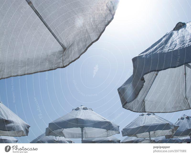 Sonnenschirme Sommer Himmel blau Ferien & Urlaub & Reisen Strand Meer Erholung Sand Küste Tourismus Sommerurlaub Außenaufnahme Farbfoto Sonnenbad Sonnenlicht