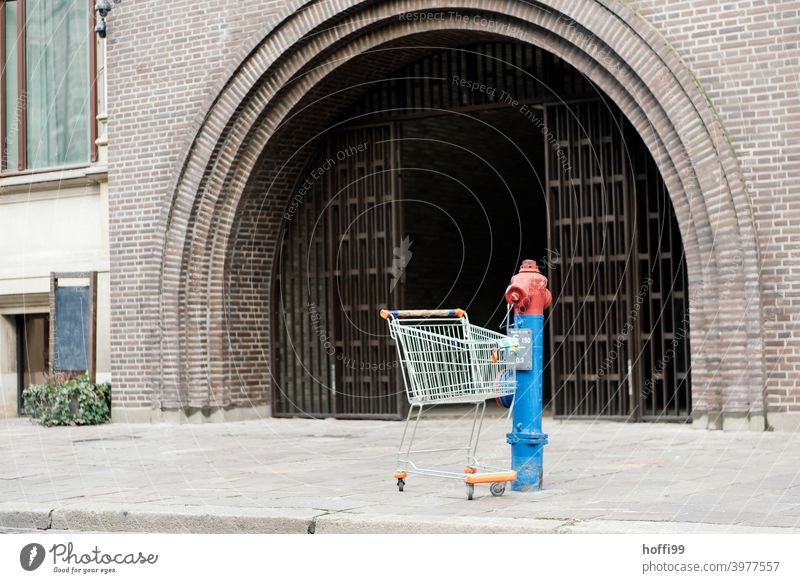 ein Einkaufswagen steht allein an einem Hydrant in der Stadt Stadtzentrum Tor Eingangstor Eingangstür Stillleben urbanes Stillleben Wasserhydrant kaufen Konsum